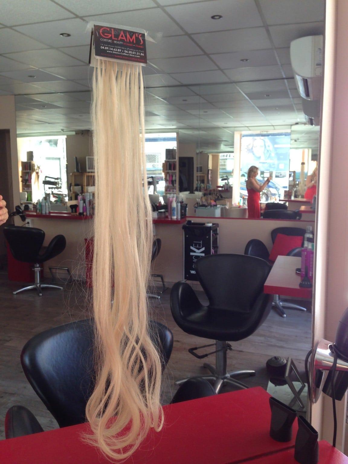 extensions de cheveux à Nice, cheveux russe 70cm salon glam's Nice
