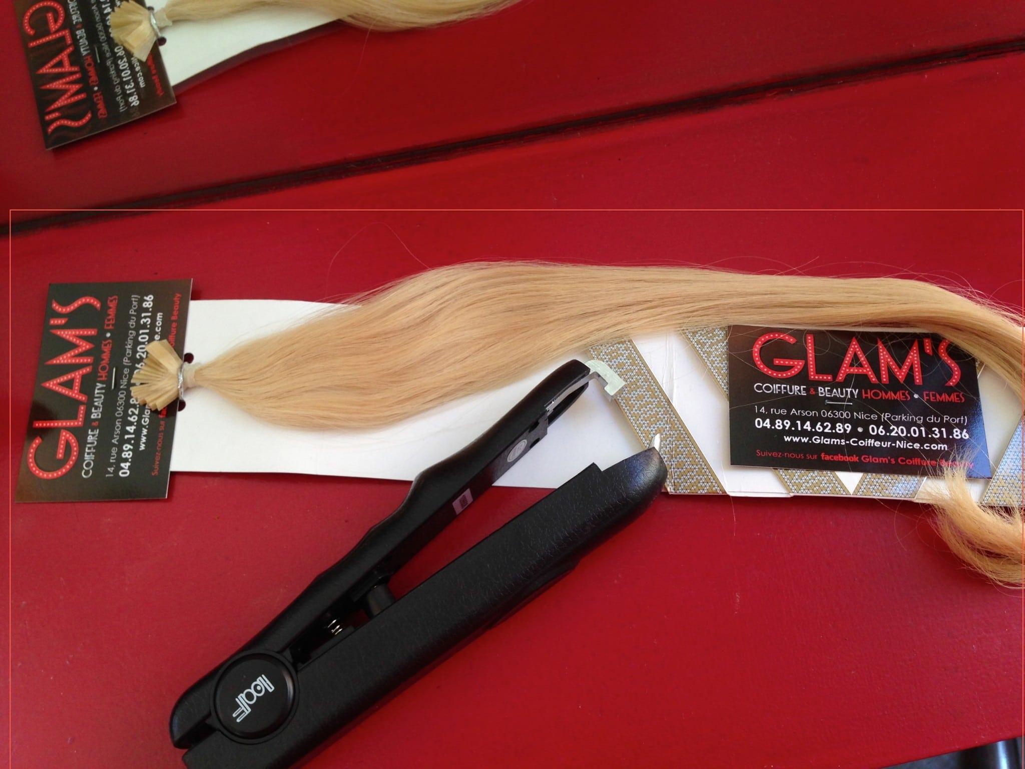 extensions de cheveux à Nice, pince à froid glams coiffure à Nice