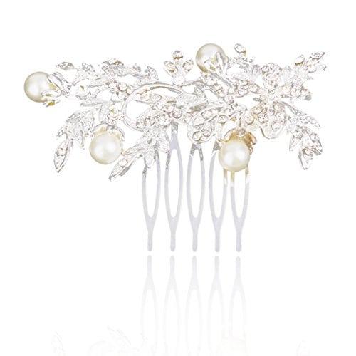 acheter maintenant     EUR 4,61 Description:   Matériel: Alliage, perles artificielles, strass  Couleur: Argent + blanc crèmeTaille (L x P): Env. 7,5 x 6cm  Paquet comprend:   1 x peigne Matériel: Alliage, perles artificielles, strassCouleur: Argent +…