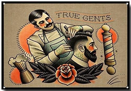 acheter maintenant     EUR 19,08 Vrai Homme Qualité vieux vintage style panneau métallique – 400mm x 300mm,  – Style vintage publicité – Pour la salle de bain, Salon de coiffure, coiffeur – Plaque décorative en métal de…