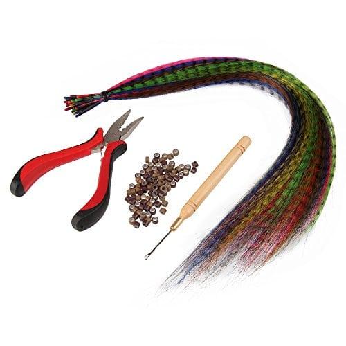 acheter maintenant     EUR 12,99 Kit de cheveux plume  20 cheveux plume  1 pince  1 crochet  50 anneaux  facile a untiliser  1.prendre l'anneaux dans le crochet  2.prendre une poignée de cheveux…