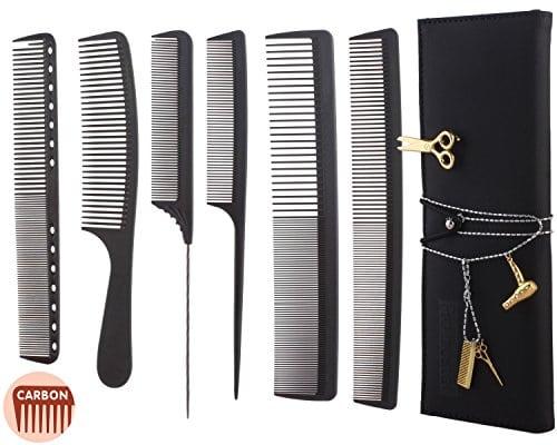 acheter maintenant     EUR 24,70 Ce que vous obtenez? Lot de 6peignes de coupe 1x d'or Broche de coiffeurs 1x doré avec strass 1x Sac à outils professionnel Tous les peignes en carbone, antistatique, durable et résistant à…