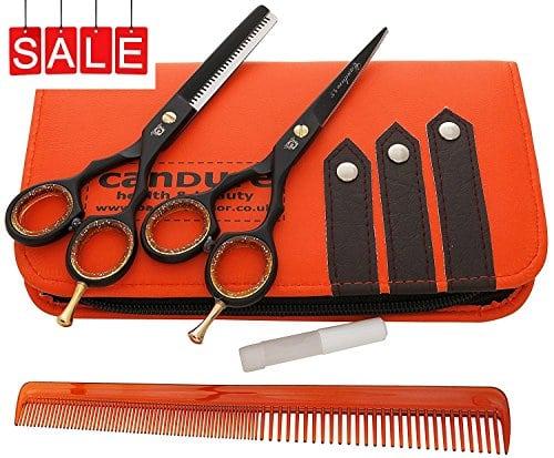 acheter maintenant     EUR 50,00 Ciseaux salon de coiffure barbier, ciseaux fins 5.5″, neuf noir avec vis dorée plus étui/manche pour ciseaux   – Un bel ensemble de ciseaux pour cheveux couleur noir et ciseaux fins: 5.5…