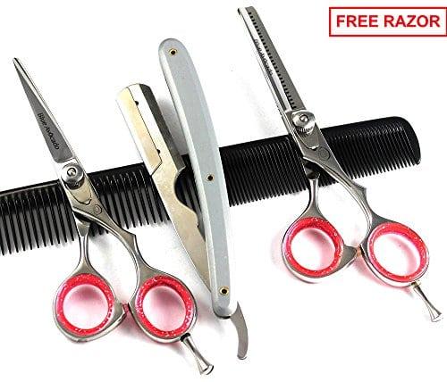"""acheter maintenant     EUR 59,99  5.5 """"coiffure outil professionnel Idéal pour les coiffeurs, y compris ciseaux de cheveux régulières et une paire de ciseaux à effiler couper. Deux ciseaux ont le pouce reste conception de la poignée…"""