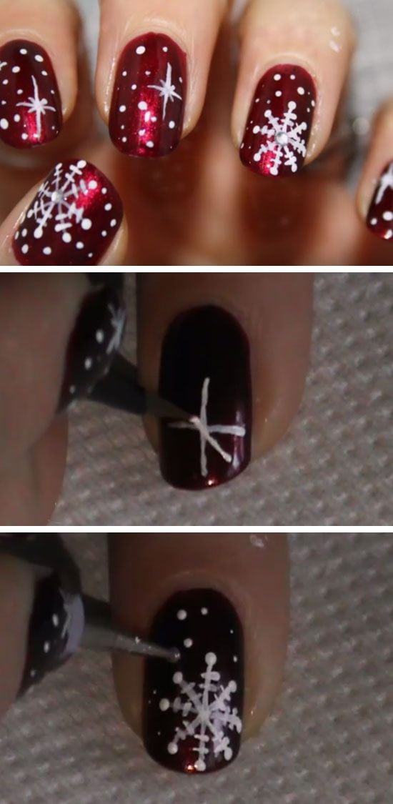 Red & White Snowflakes | Click Pic for 20 Easy Christmas Nails Art Designs… Source by glamovska   …