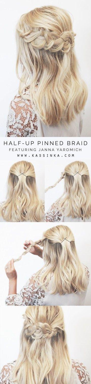 half-up-pinned-braid via Easy Step by Step Hair Tutorials Source by livelyolivia7   …