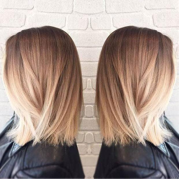 Straight Long Bob Blonde Balayage Extensions De Cheveux 100