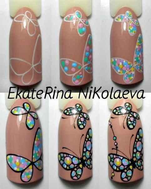 Butterfly Nail art tutorial, dots.  Nails University. Ногти и Маникюр пошагово. Source by styleanddesigns   …