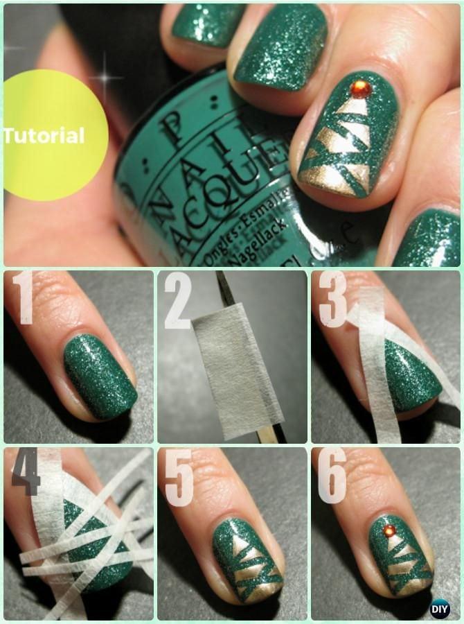 DIY Christmas Tree Nail Art Instruction-DIY Christmas Nail Art Ideas #NailArt Source by diyhowto   …