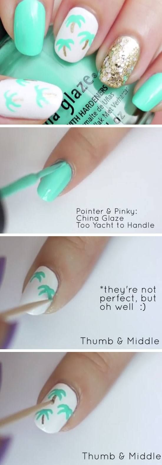 Easy Palm Tree Nail Art | 18 Easy Summer Nails Designs for Summer | Cute Nail Art Ideas for Teens Source by qh75   …