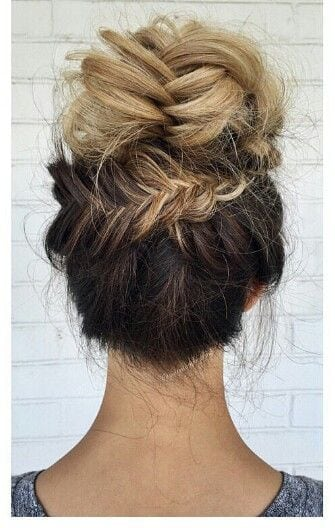 Blonde ombre fishtail braided updo bun hairstyle.  Click here to see more hairstyle ideas: www.amodernmomblo…