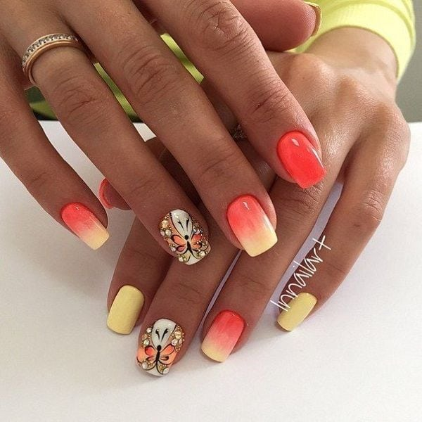 Sun kissed butterfly nail art design. Inspired by the bright colors of the sun, the yellow and melon combination is simply perfect in gradient with the butterfly outline in the same color combination. Source by cuded   …