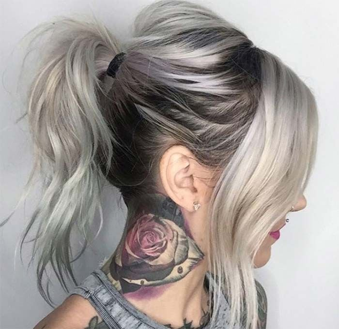Granny Silver/ Grey Hair Color Ideas: Messy Ponytail with Grown-Out Roots Source by fashionisers   …