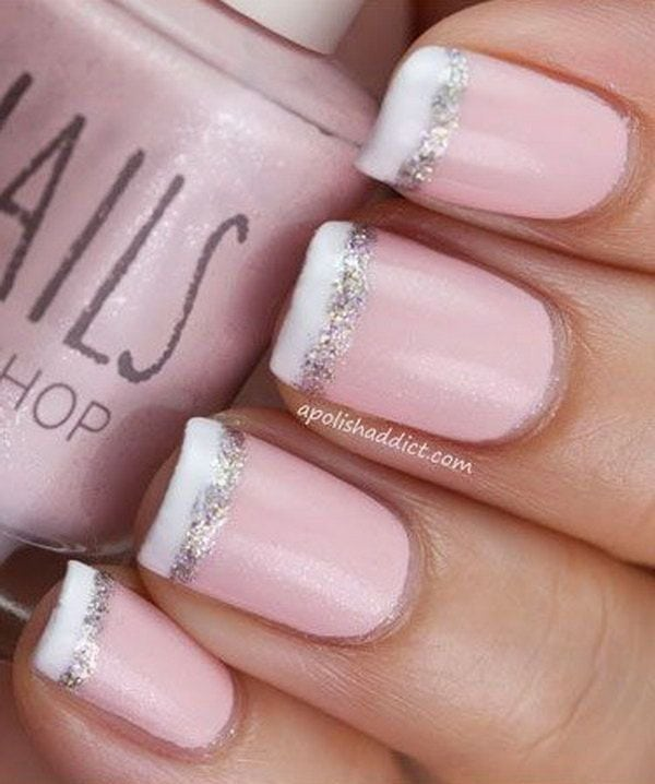 Baby Pink French Nail Tipped with White and Glitter. Source by aprilgarrow   …
