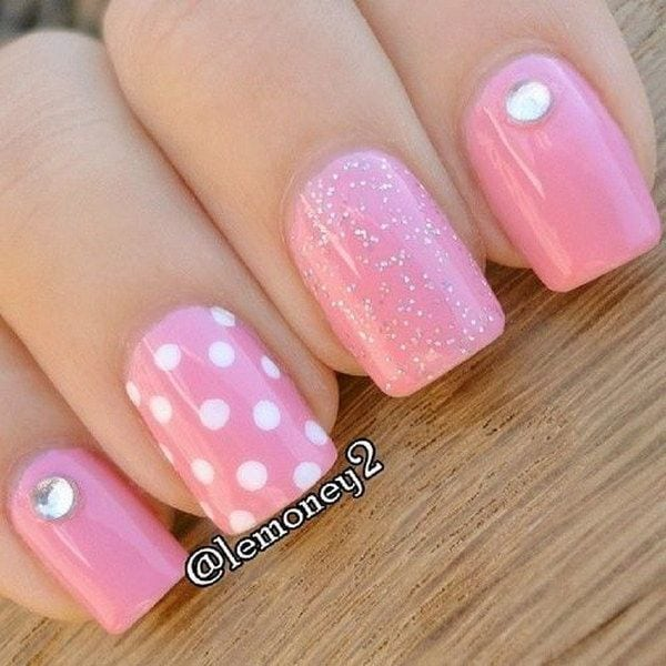 Polka Dots Pink & White Nails. Source by rlubowicz   …