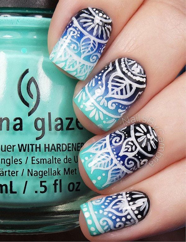 Tribal nail art design on top of a blue gradient theme. Dark and light blue are used for the gradient effect while white polish is used for the tribal designs on top. Source by aboulaze   …