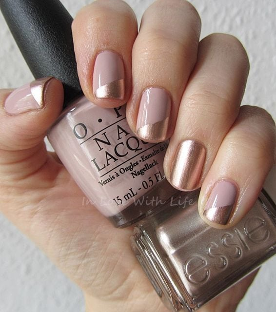 Pretty copper and beige manicure with OPI My Very First Knockwurst and Essie PennyTalk Source by hopefulathome   …