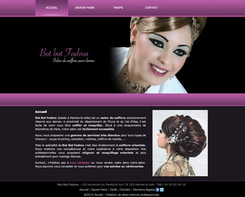 www.coiffure-orientale.com/  Nous vous proposons une gamme de services très étendue pour tous types de cheveux : coupe brushing, coloration, mèches, coiffure de mariée, …  Mais la spécialité de Bot Bot Fadma c'est bien évidemment la coiffure orientale. Nous…