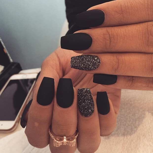 Edgy Matte Black Nails + Sparkly Accent Nail Source by stayglamcom   …
