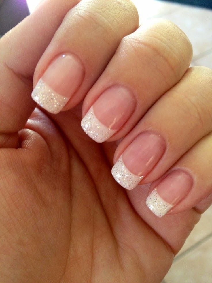 French Manicure Design – French Manicure with Glitter Tips Source by livelyolivia7   …