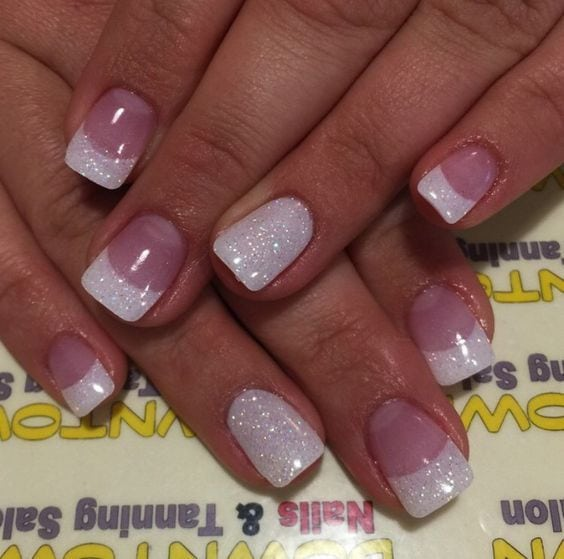 Glitter French Tips   Easy Wedding Nail Art Ideas for Short Nails Source by thegatherin0109   …