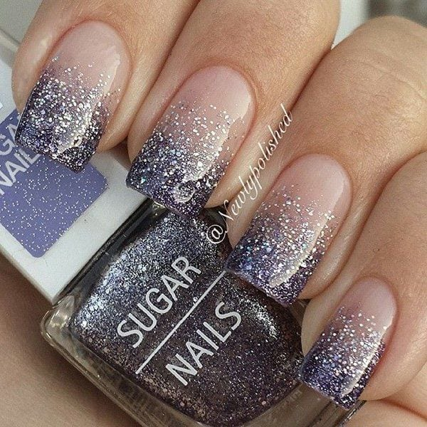 Gradient nail art and silver glitter nail art designed in French tips. Stand out of the crowd with beautiful glitter nail art inspired designs Source by mirandafancy   …