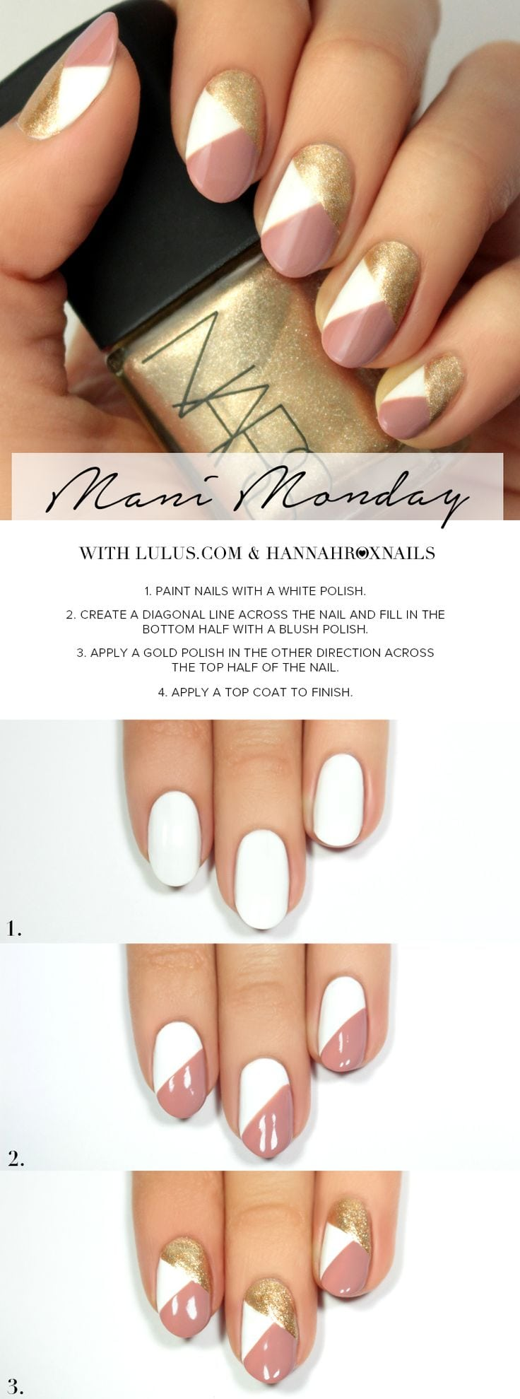 Mani Monday: Pink and Gold Geo Nail Tutorial | Lulus.com Fashion Blog | Bloglovin' Source by indyvsx   …