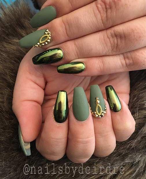 Matte Green and Metallic Nail Art Design Source by boogaardkaufman   …