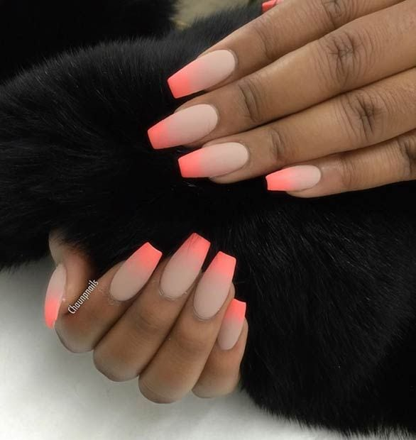 Ombre, Matte Nail Design for Long Nails Source by kimskie   …