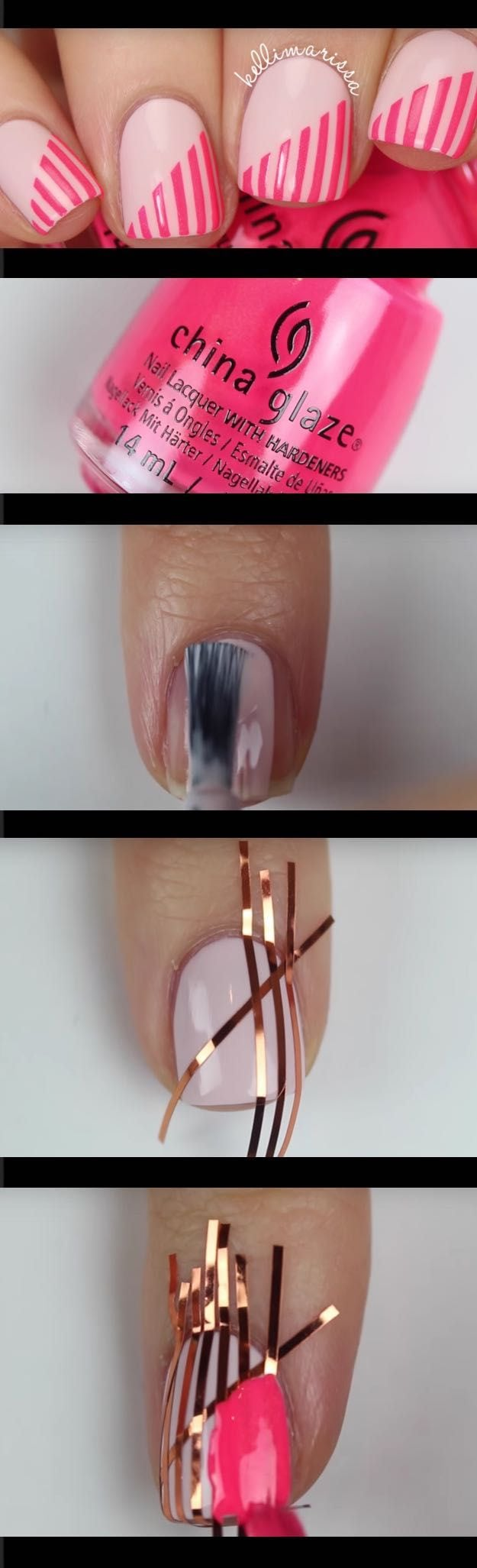 Super Easy Nail Art Ideas for Beginners – DIY Beginner Striping Tape Nail Art Tutorial KELLI MARISSA – Simple Step By Step DIY Tutorials And Pictures For Nailart. Ideas For Every Style, All Hair Colors, Sparkle, Valentines, And other Awesome…
