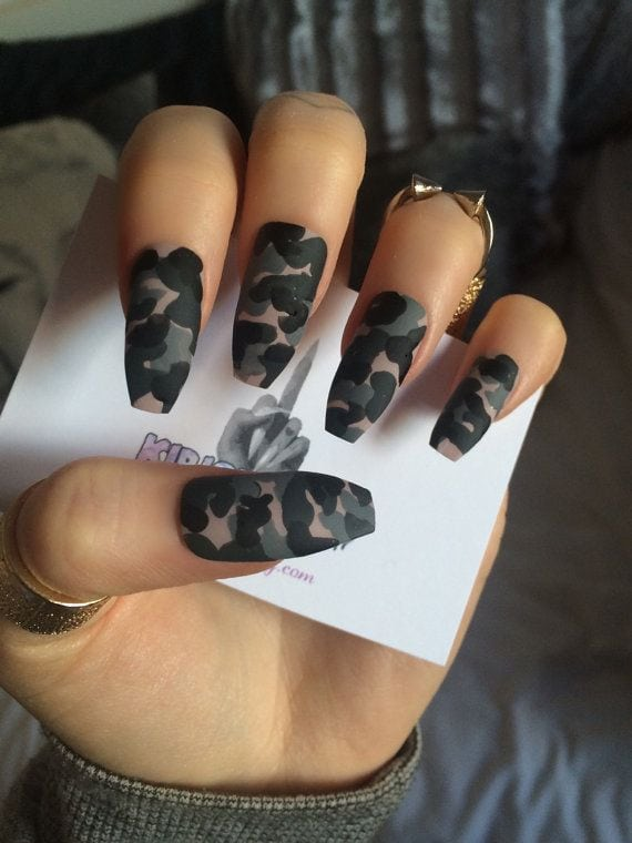 x Camo Klaws x Camouflage false nails long glue on by KirisKlaws Source by tandykaaa   …