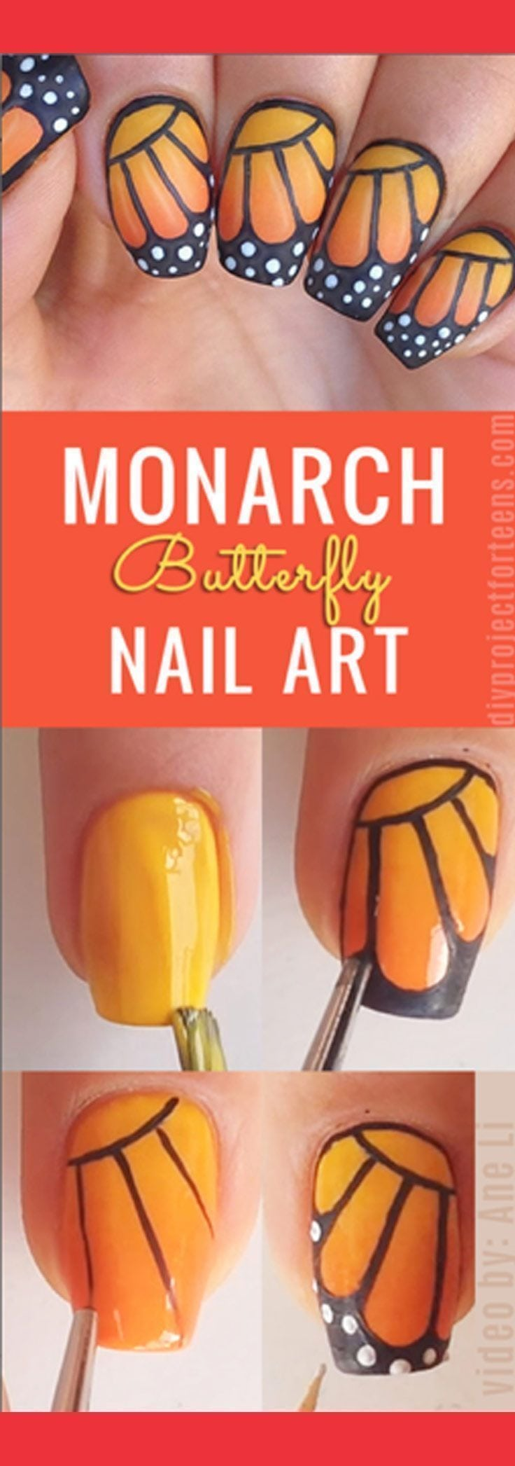 Cool Nail Art Ideas – How to do monarch butterfly nail art – tutorial DIY Manicure and Nail Design Ideas