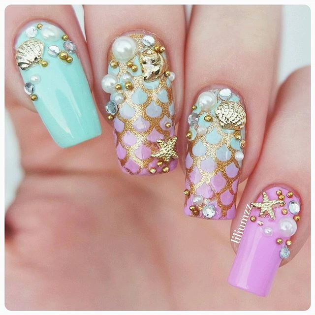 Pin for Later: 30 Mermaid Nail Art Ideas That Even Ariel Would Envy Source by loussoe   …