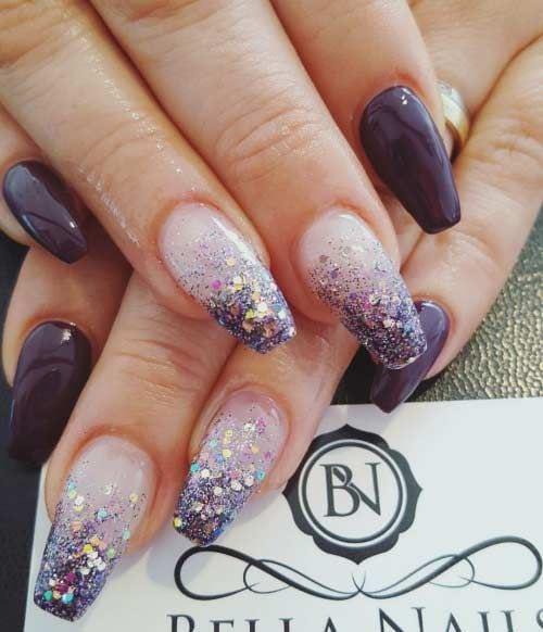 Purple Glitter Coffin Nail Design Source by shabbychanel   …