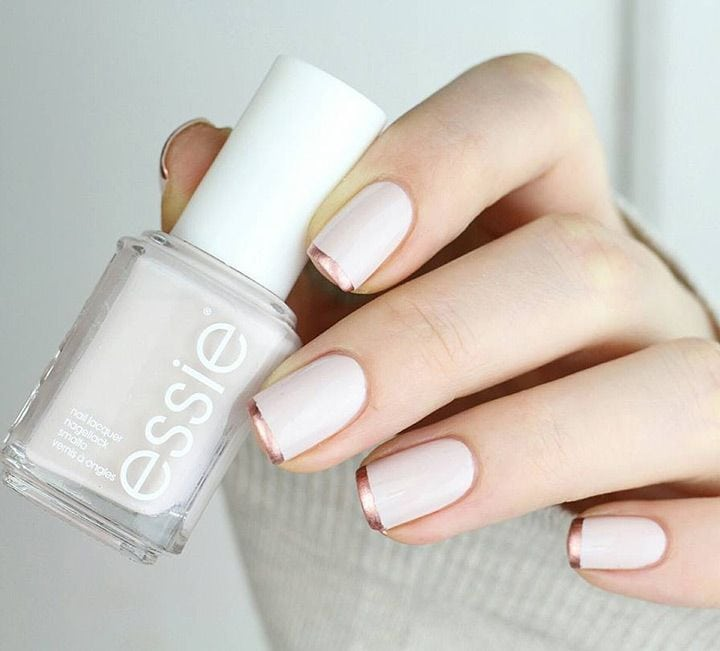 Rose Gold French Tip Nails – love this spin on a traditional french manicure!