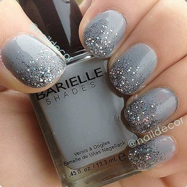 Gray Glitter Ombre Nail Design for Short Nails Source by nathaliedesiree   …
