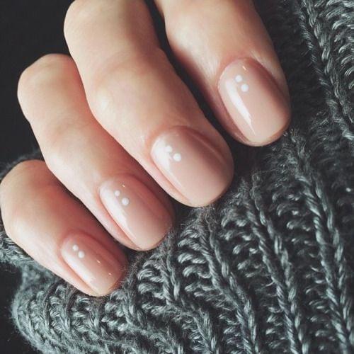 Minimal Nail Art Design, Blush with Dots Source by sannelises   …