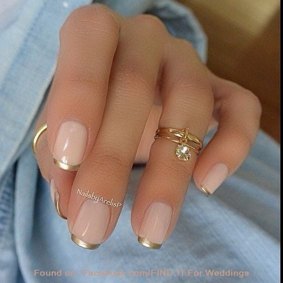 Pink and Gold French Manicure Design Source by anitakuipers56   …