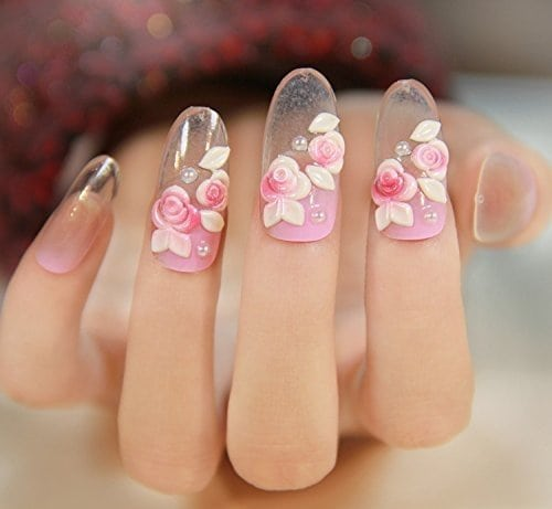 Acheter maintenant     $4.50 Including: (totally 24pcs). DUO side adhesive included, WITHOUT LIQUID GLUE.Brand New & high quality3D Rose Flowers Princess Pink Gradient Clear Fake NailsDUO side adhesive included, WITHOUT LIQUID GLUE.Perfect Fit, Easy to apply …