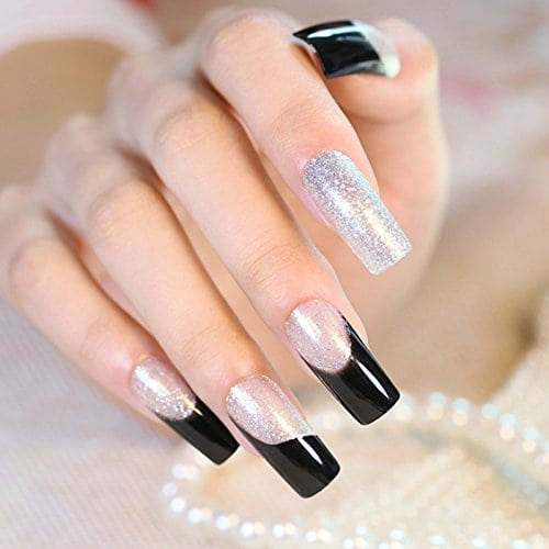 Acheter maintenant     $4.50 Including: (totally 24pcs). DUO side adhesive included, WITHOUT LIQUID GLUE.Brand New & high qualityFrench Silver Glitter Black Nails24 pieces of full nailsDUO side adhesive included, WITHOUT LIQUID GLUE.Perfect Fit, Easy to apply …