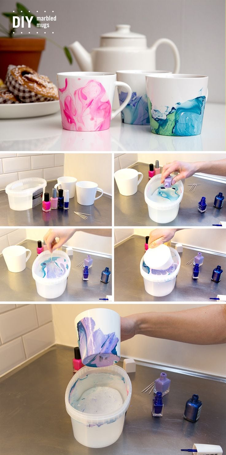 These Nail Polish Swirl Coffee Mugs are so easy to make and they look great. You will adore the stunning effects that you are going to be able to create! Source by aamato0165   …