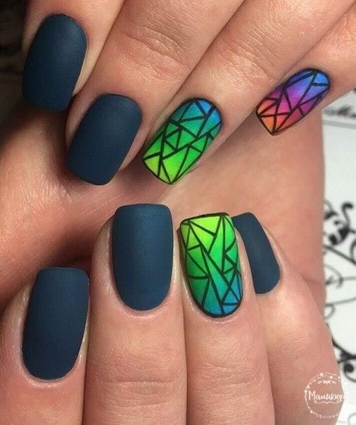 Broken glass nails Disco nail Evening nails Geometric nails Interesting nail