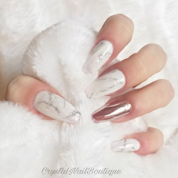 [ad_1]  Marble press on nails rose gold chrome by CrystalNailBoutique Source by mmvosch [ad_2]  …