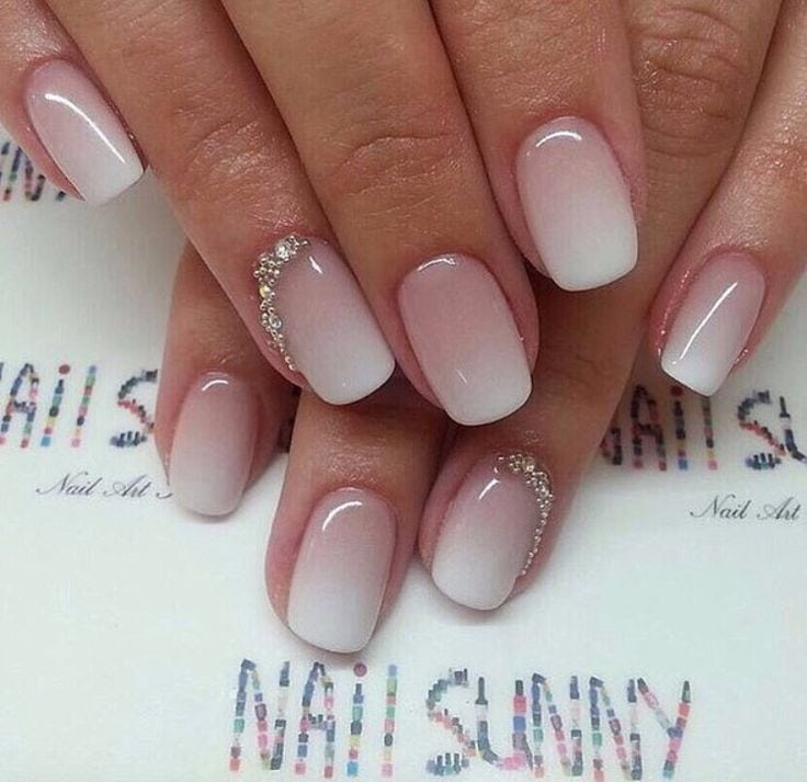 White pink ombré bridal nails. Women, Men and Kids Outfit Ideas on our website at 7ootd.com #ootd #7ootd Source by sgipsy   …