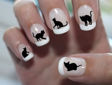 Black CATS 2 – Familiar Symbols 51 DECALS – Nail Art Water Slide Transfers 15 different cats. THESE ARE NOT STICKERS OR VINYL AND WILL GIVE PROFESSIONAL RESULTS 🙂  Easy to apply – works great over your favorite nail…