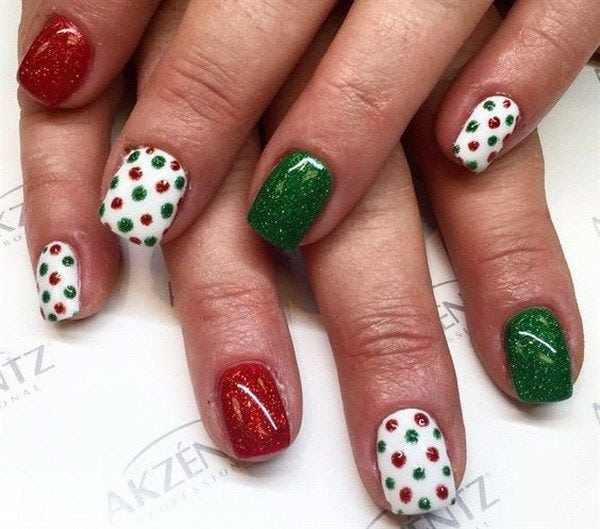 Green, Red White Dotted Holiday Nail Art. Source by sjoldersma   …