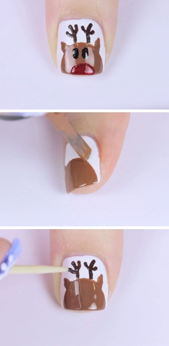 Rudolph | Click Pic for 20 Easy Christmas Nails Art Designs Winter | Easy Nails…