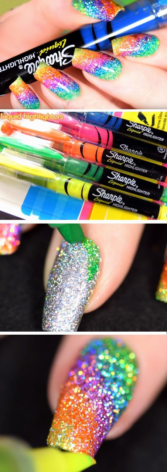 Sparkly Highlighter Rainbow | DIY Back to School Nails for Kids | Awesome Nail Art Ideas for Fall Source by bella2ann   …