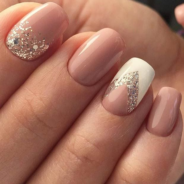 Sparkly Neutral and White Nail Art Design for Prom Source by mariskagilles   …