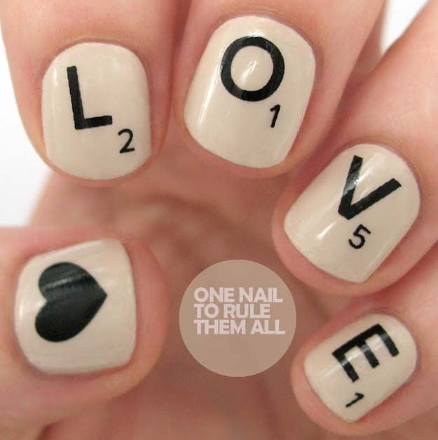 Valentine Nail Art Ideas – Scrabble Love Nails – Cute and Cool Looks For Valentines Day Nails – Hearts, Gradients, Red, Black and Pink Designs – Easy Ideas for DIY Manicures with Step by Step Tutorials – Fun Ideas for…